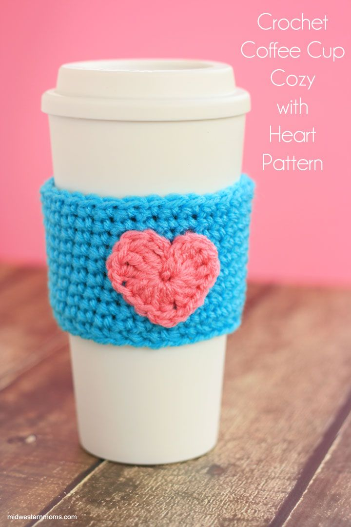 Crochet Coffee Cup Cozy Pattern With Heart Cup Cozy Crochet