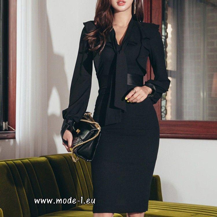 elegantes business kleid 2019 knielang mit Ärmel in
