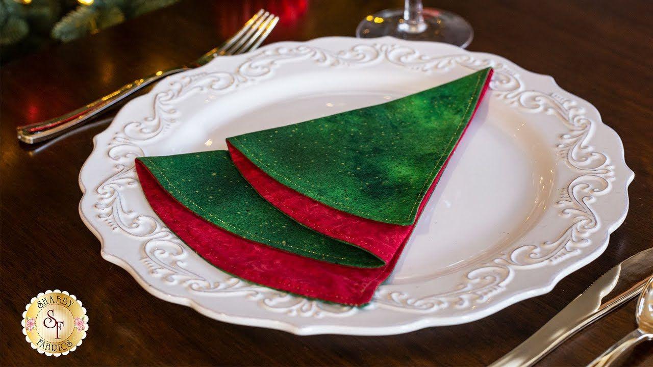 Simple Diy Folded Christmas Tree Napkin Shabby Fabrics Tutorials Youtube Christmas Tree Napkins Fabric Christmas Trees Shabby Fabrics