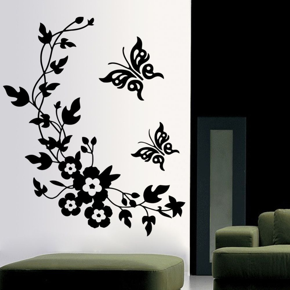 Removable Vinyl 3d Wall Sticker Mural Decal Art - Flowers and Vine ... for Butterfly Wall Art Stencil  70ref