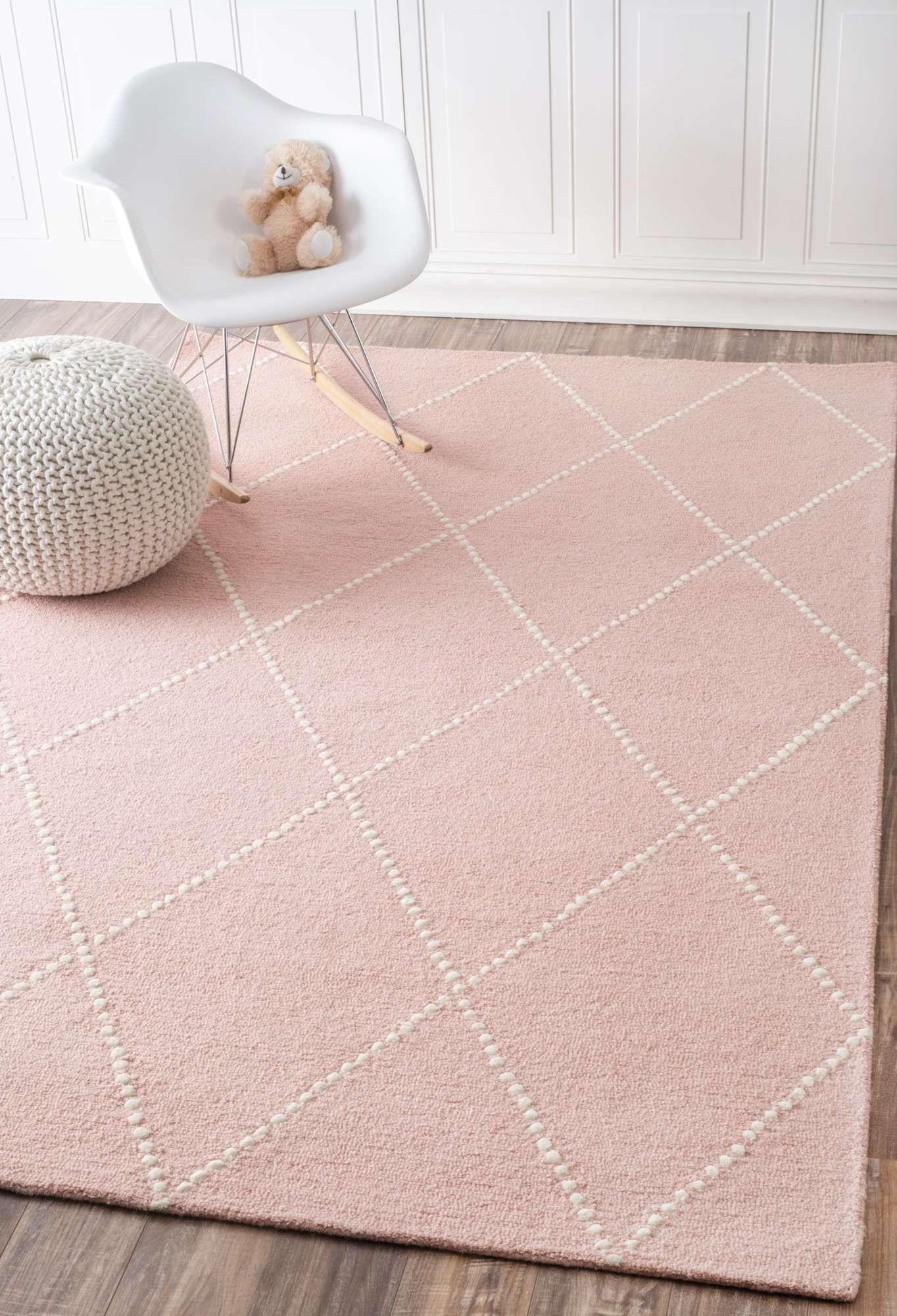 Tuscanvs176 Hand Tufted Wool Dotted Diamond Trellis Rug