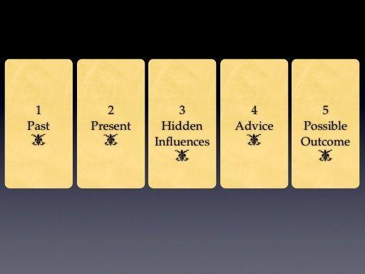 Five Card Spread - Past, Present, Hidden Influences, Advice