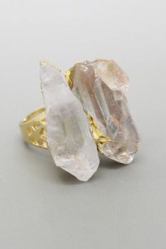 Eye Candy Los Angeles Double Quartz Ring - Size 7
