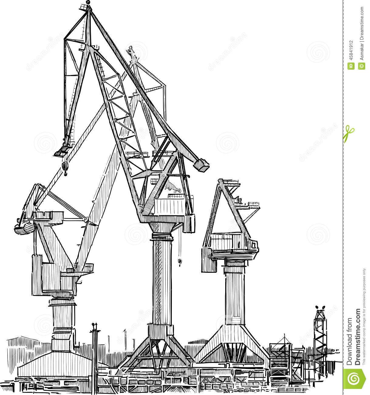 Harbour Crane Old Industrial Drawing