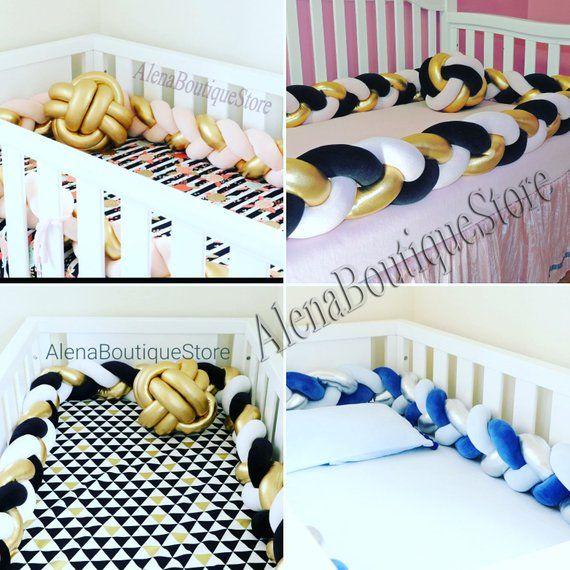 Gold Silver Braided Crib Bumper Nursery Bedding Kids Room Decor Knot Pillow Knot Cushion Bolster Kid Room Decor Crib Bumper Nursery Bedding
