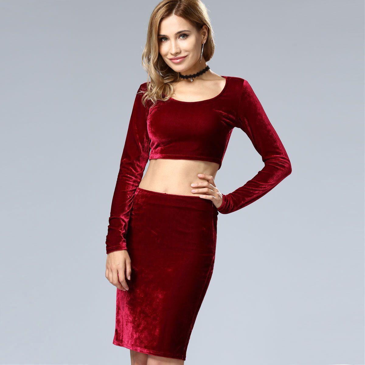 2 Piece Crop Top Skirt Set Long Sleeve Vest Slim Pencil Skirt