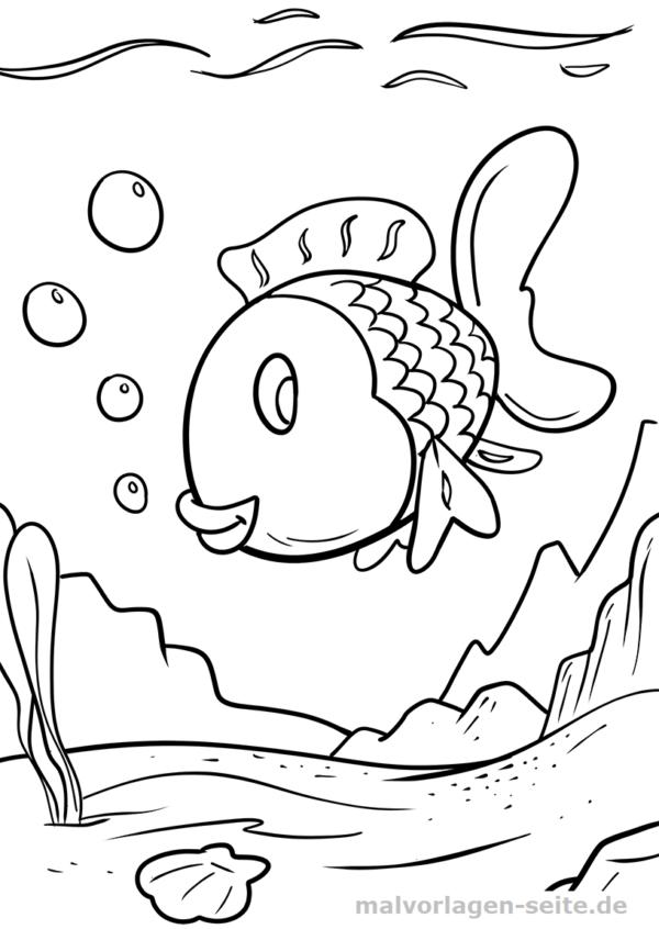 Malvorlage bunter Fisch