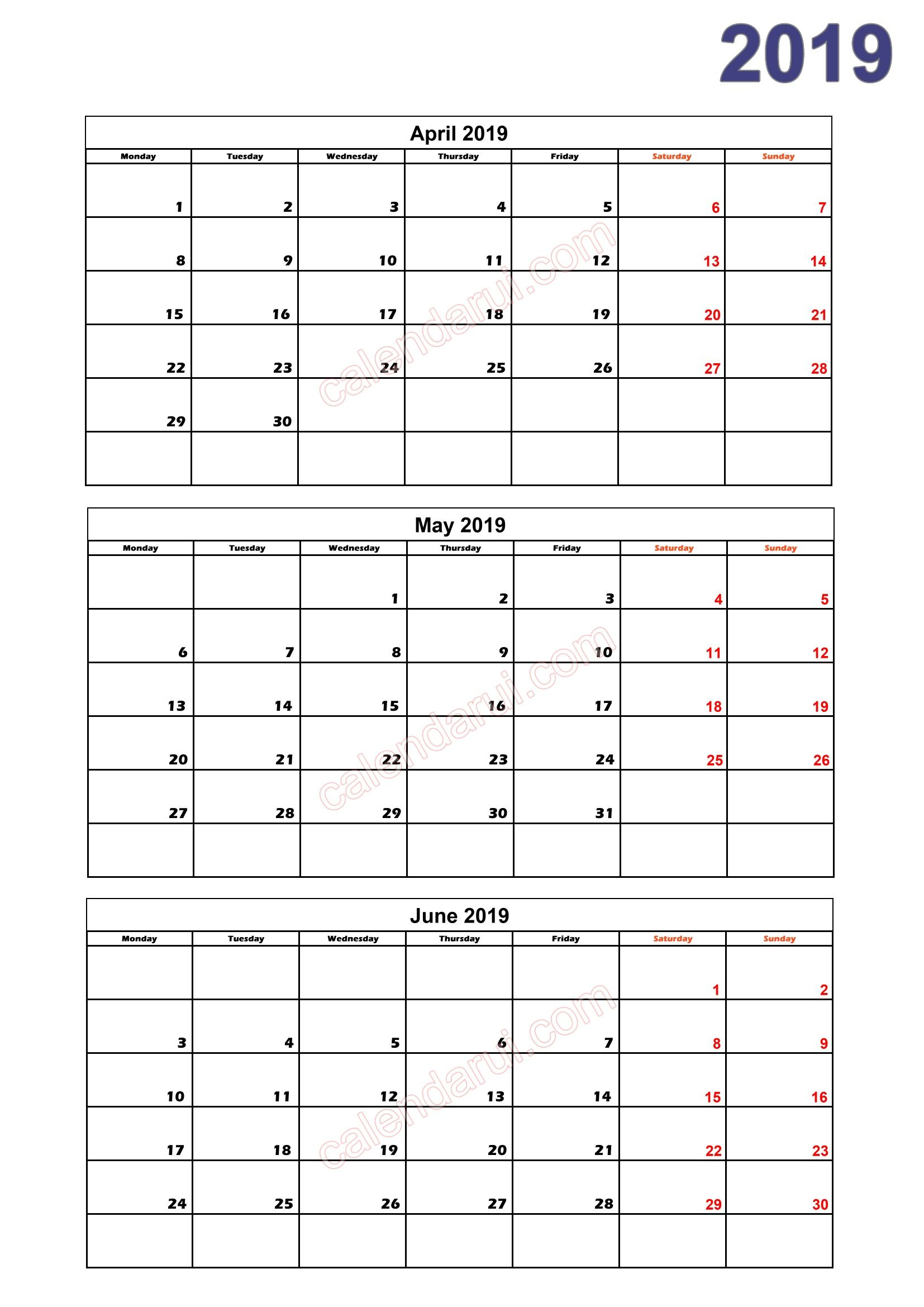 Quarterly Calendar Template 2019 2 Quarter 2 Calendar 2019 Printable Download Free_2 | 2019