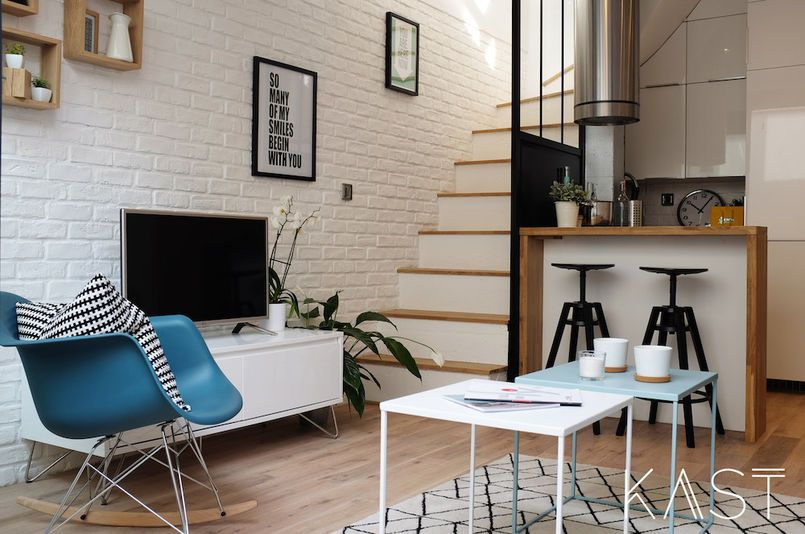 Biala Cegla W Salonie House Interior Inside Home Dining Room Industrial