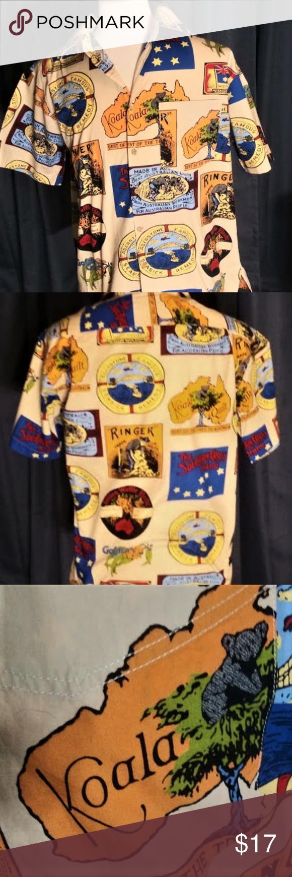 Mens Austrailion Themed Hawaiian Btn Dwn Shirt Take a look