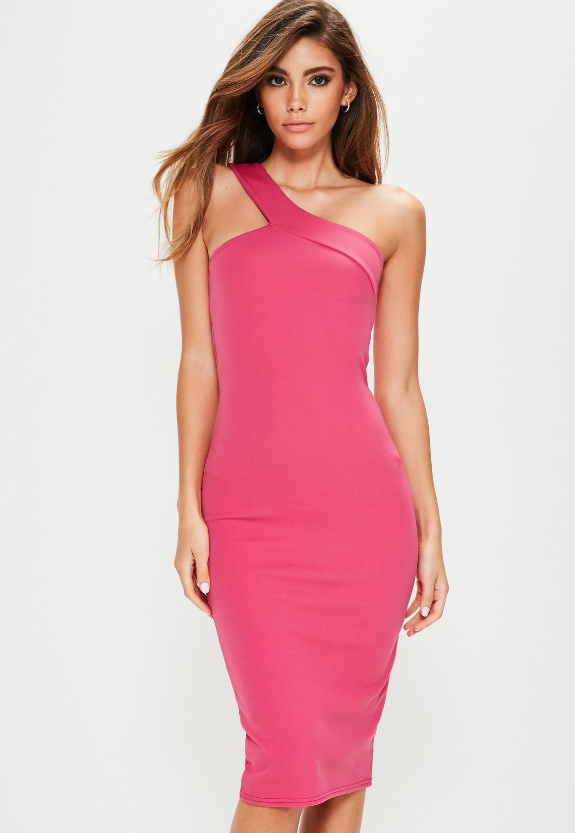 Missguided - Pink One Shoulder Asymmetric Neck Midi Dress | Dress It ...