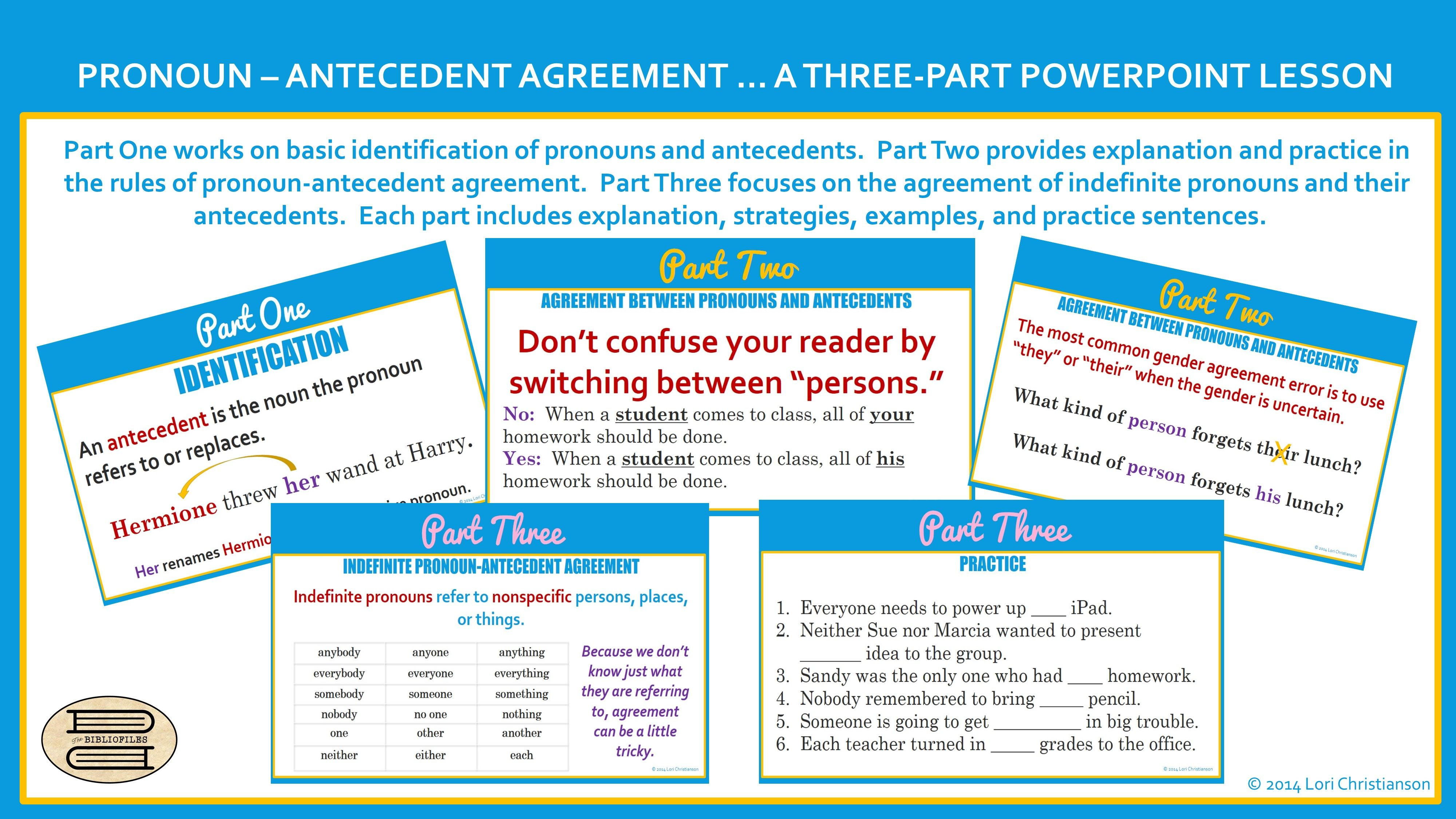 Three Part Ppt On Pronoun Antecedent Agreement Three