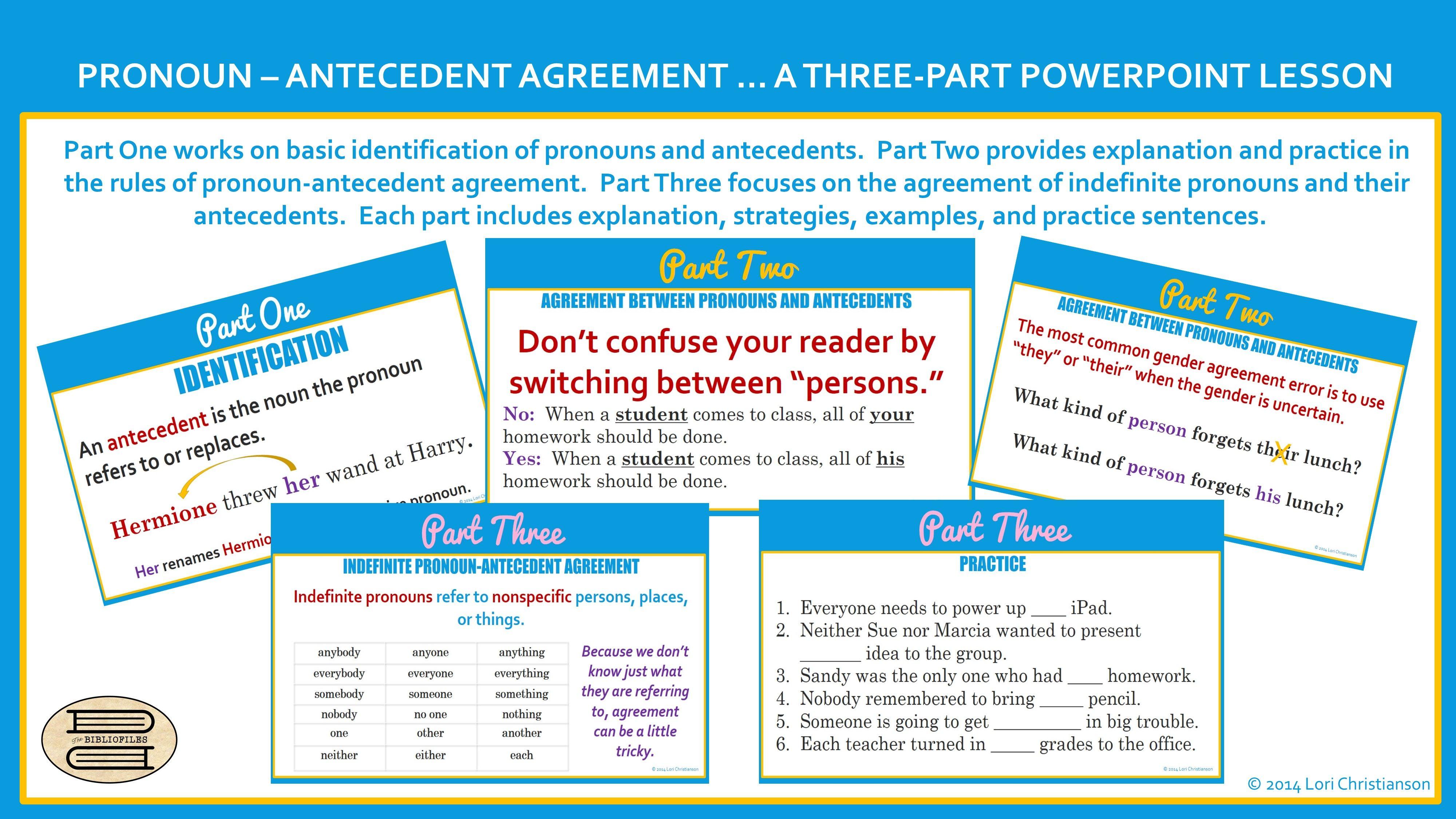 Three Part Ppt On Pronoun Antecedent Agreement Three