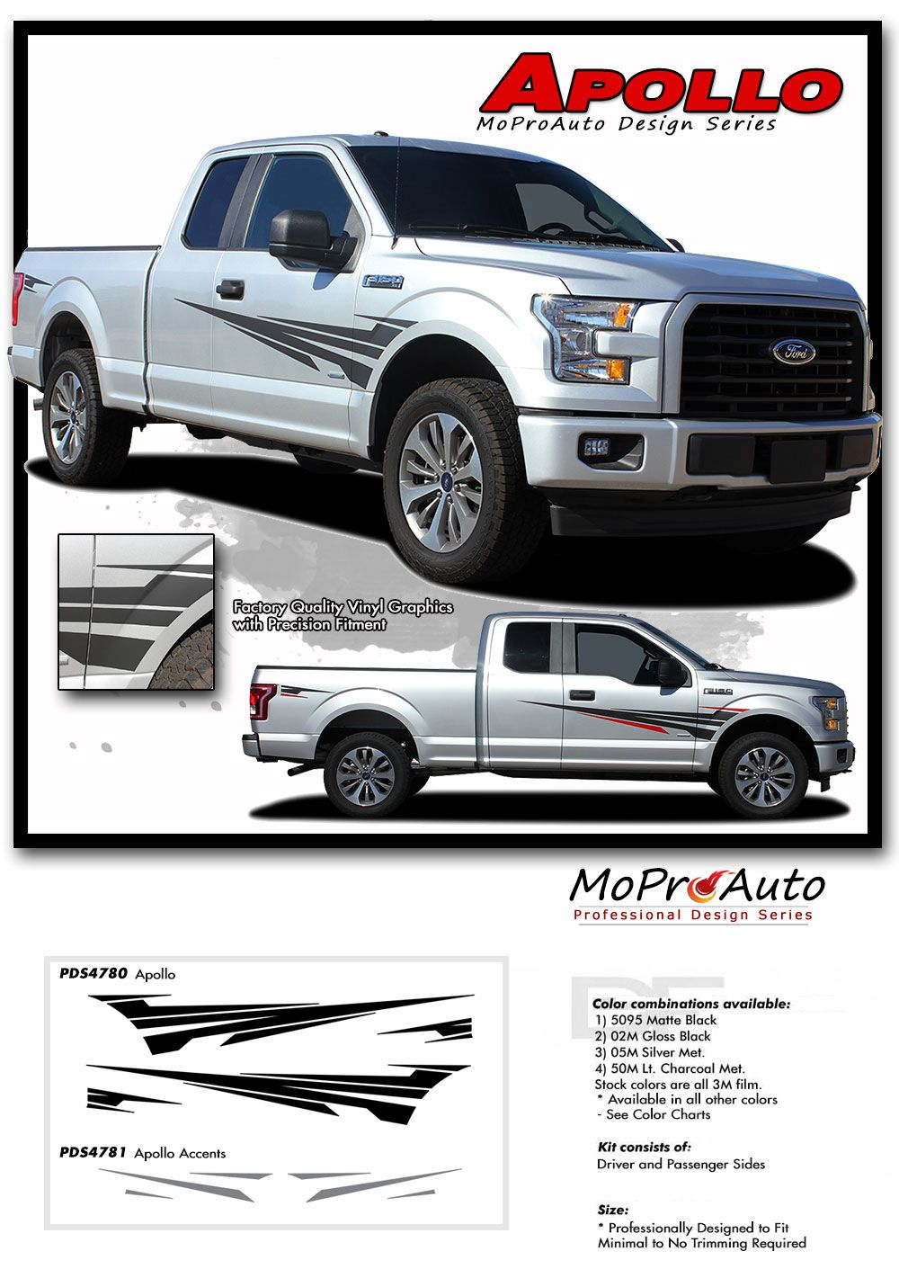 Apollo ford f series f 150 appearance package vinyl graphics and decals kit by
