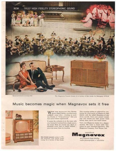 Vintage 1958 Magnavox Console Stereo Magazine Print Ad