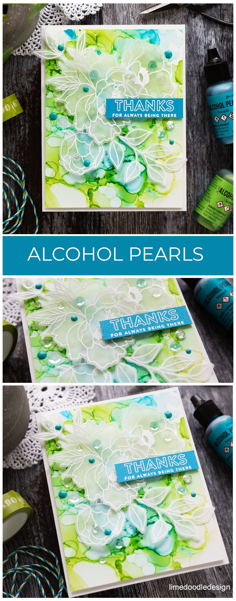 Alcohol Pearls Inked Background #cardkit