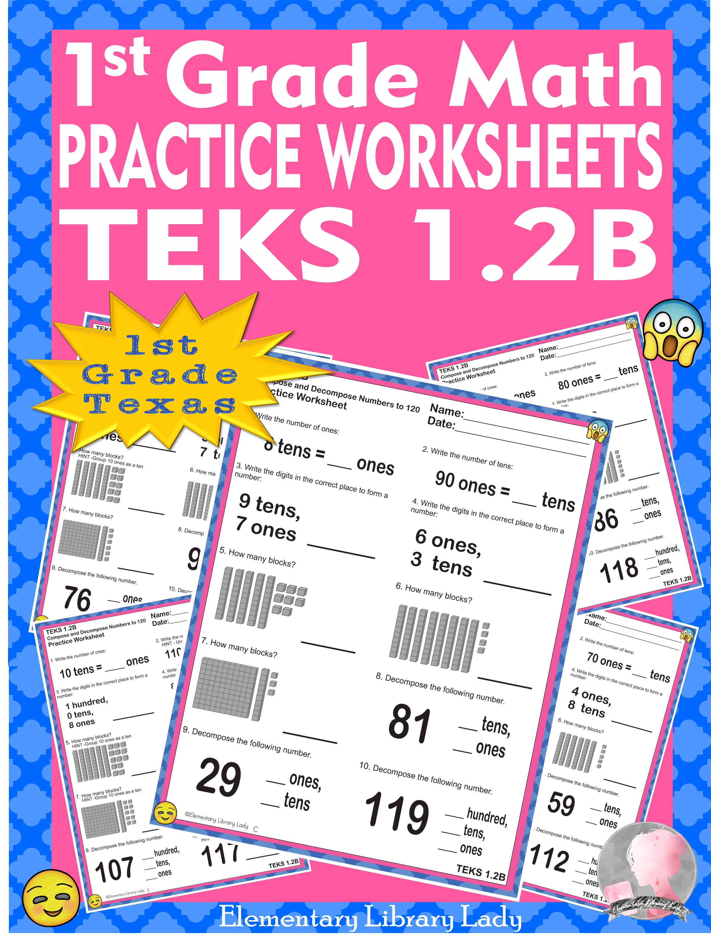 Math Teks 1 2b Texas 1st Grade Practice Worksheets Compose