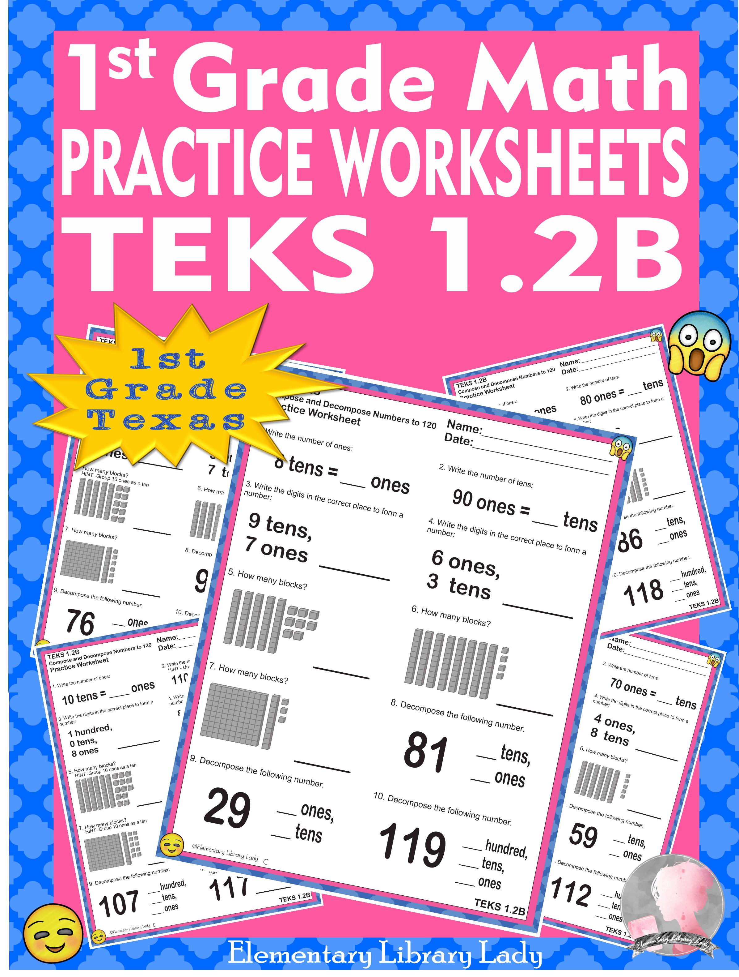 Math Teks 1 2b Texas 1st Grade Practice Worksheets Compose