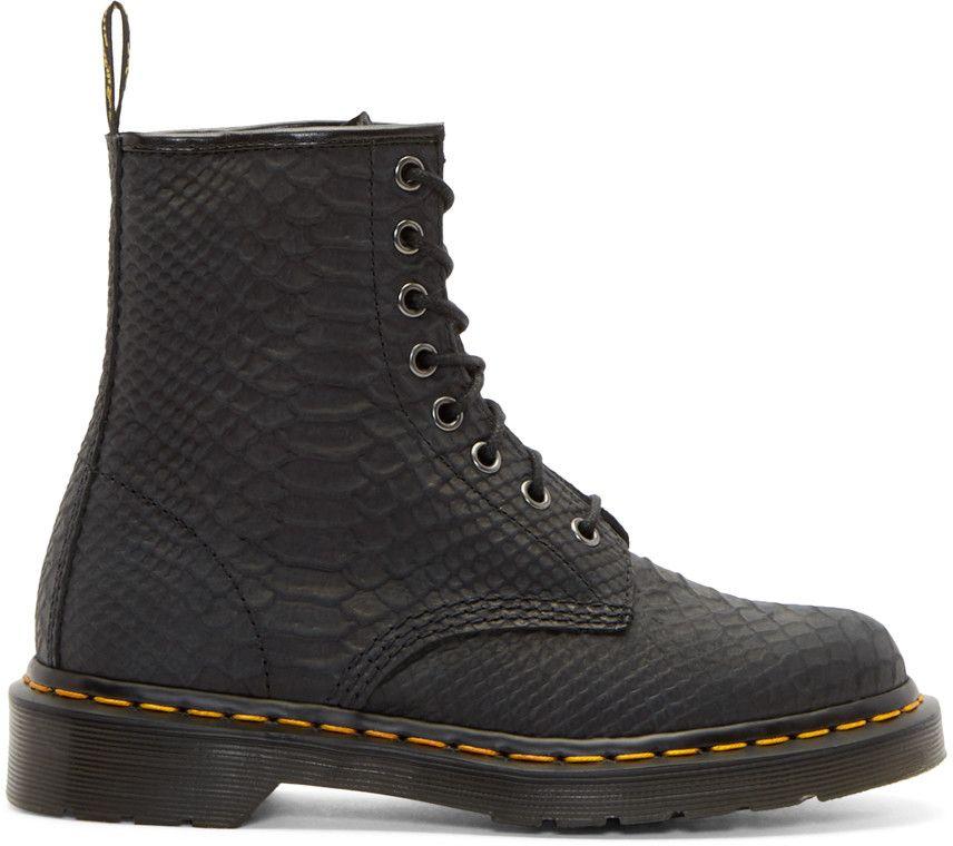 Dr. Martens Black Python 8-Eye 1460 Boots