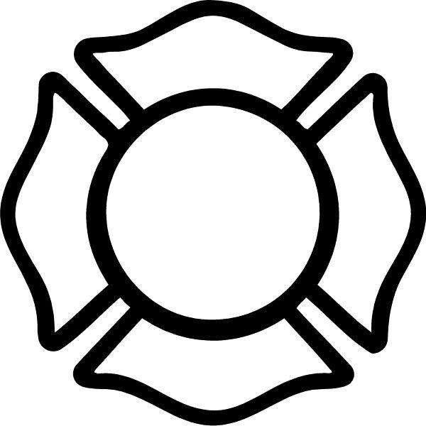 Black And White Firefighter Maltese Cross Firefighter