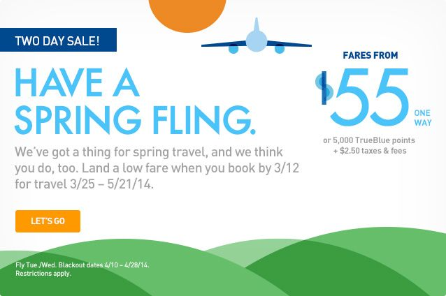 Have a Spring Fling with JetBlue Airways, providing rates
