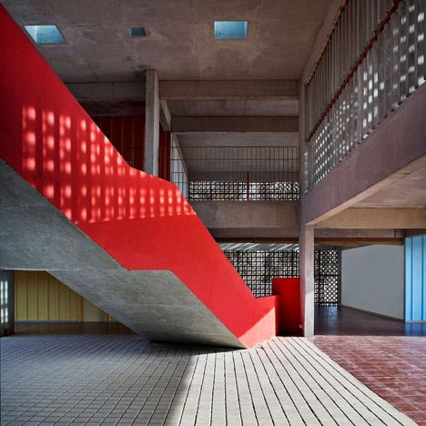 dps kindergarten school india khosla associates concrete frame bold colour