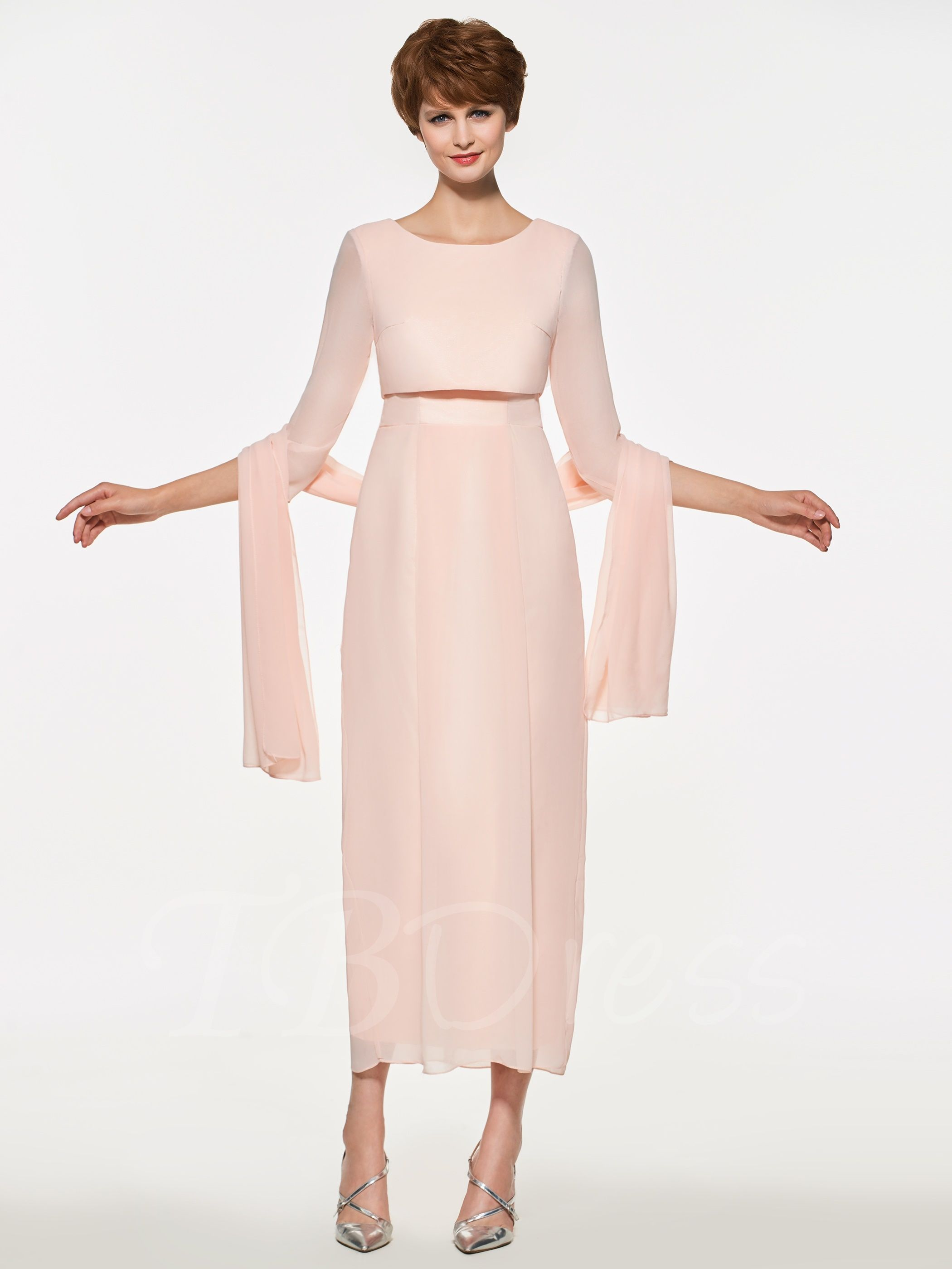 Sleeves TeaLength Mother of the Bride Dress with Shawl