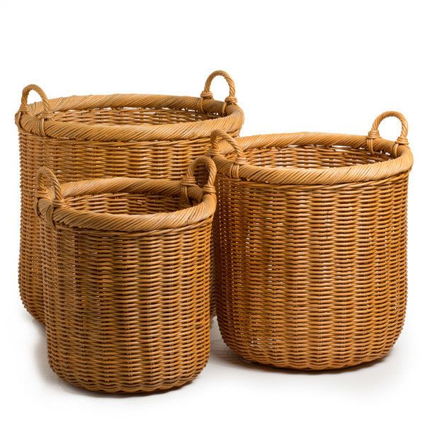 Round Wicker Storage Basket With Images Wicker Baskets Storage Storage Baskets Wicker