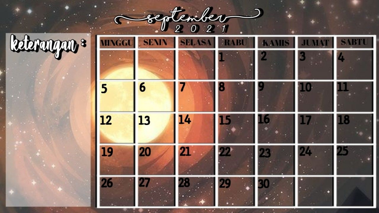 Aesthetic Kalender September 2021 Foto Sampul Jumat