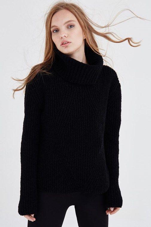 Bayan Siyah Kalin Bogazli Kazak Bogazli Kazak Siyah Giyim