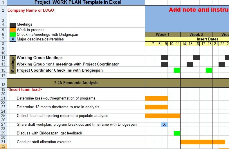 Project Work Plan Template In Excel XLS | Exceltemple