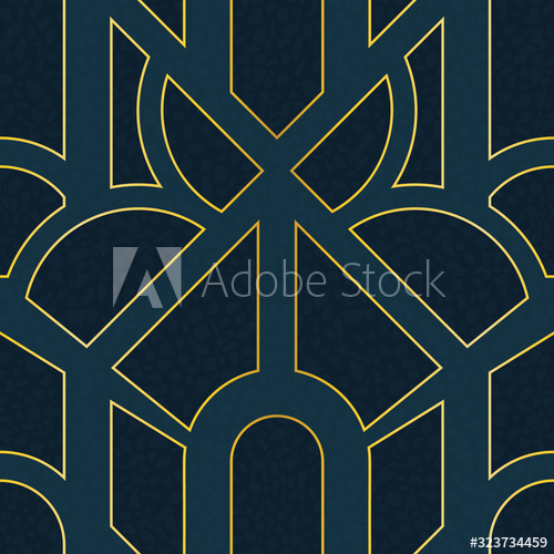 Seamless abstract geometric art deco inspired pattern in blue and gold. - Buy this stock vector and explore similar vectors at Adobe Stock | Adobe Stock | Designs by Calislahn #surfacedesign #seamlesspattern #repeatpattern #surfacepatterndesign #surfacepattern #pattern #vector #adobestock