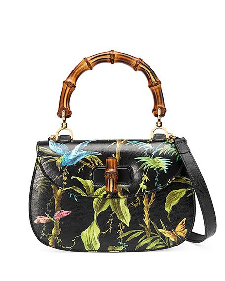 Gucci tropical-print textured leather satchel bag with golden hardware. On  mould construction. Hand-painted edges. Bamboo handle dbff64951b3bf