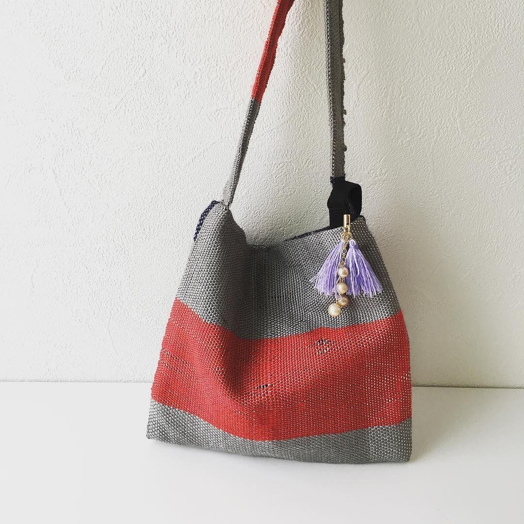 Silk mini bag with purple tassel. #silkminibag #シルクミニバッグにパープルタッセルをつけてみた