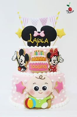Mickey Minnie Baby Cake Icing Cookies Decoration Birthday Types Of Cakes