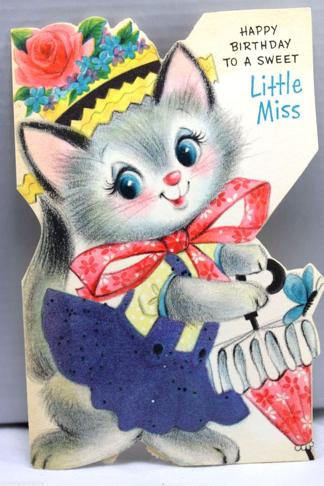 Vintage Kitty Cat 4 Year Old Birthday Card with Pin