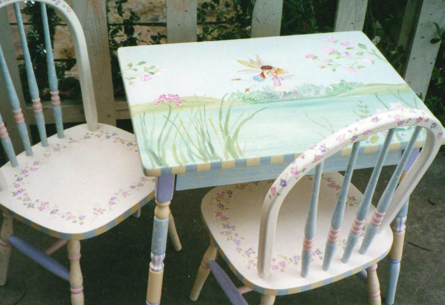 Fairy Table And Chair Set Hand Painted Child S Table And Etsy Kids Table And Chairs Hand Painted Furniture Kid Table Child's table and chair set