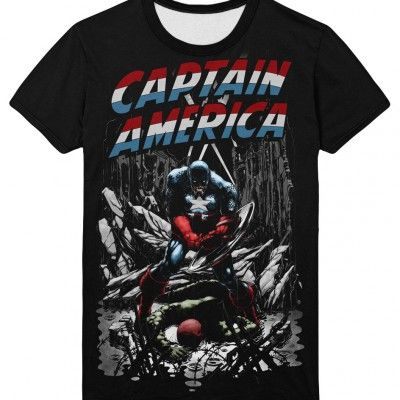 Captain America Noir Marvel Comics Tee Shirt | IdolStore