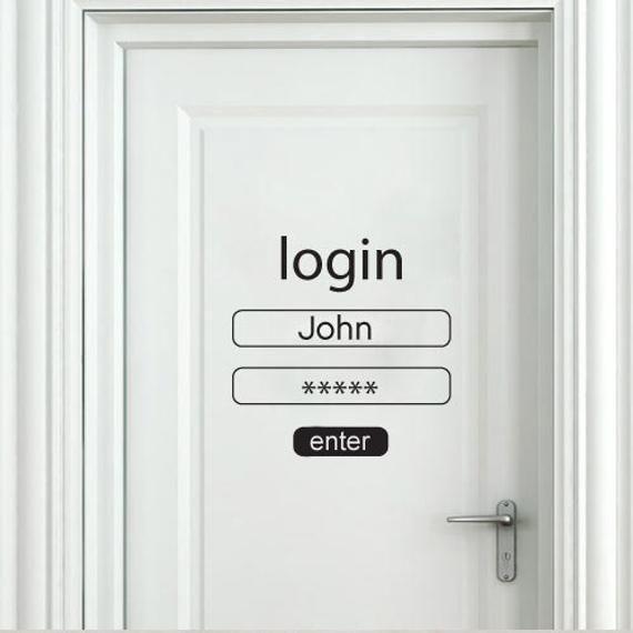 Login and Password Wall Sticker - Login and Password Door Decal - Login and Password for Home Decor with Custom Name - SKU:LOGIN