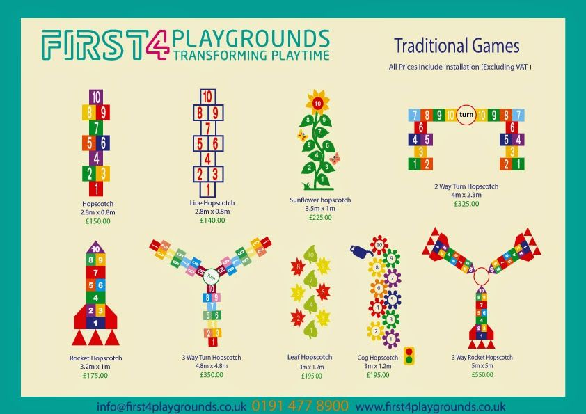 Traditional games such as Hopscotch , Rocket Hopscotch , three way ...