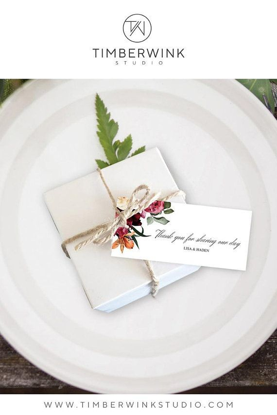 Floral Favor Tags Winter Wedding Favor Tag Template Red Floral