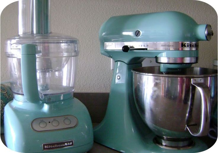 Kitchen food processor and mixer in aqua sky outdoor
