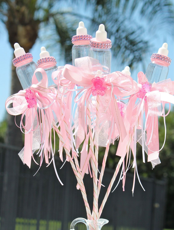 Pink Baby Bottle Centerpiece Picks, Girl Baby Shower, Centerpiece Decoration,  Sticks Decorations,