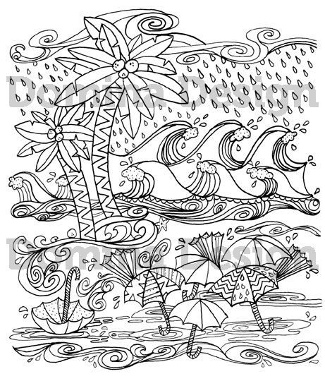 hurricane coloring pages Adult Coloring Page   Hurricane at the Beach   digital download  hurricane coloring pages