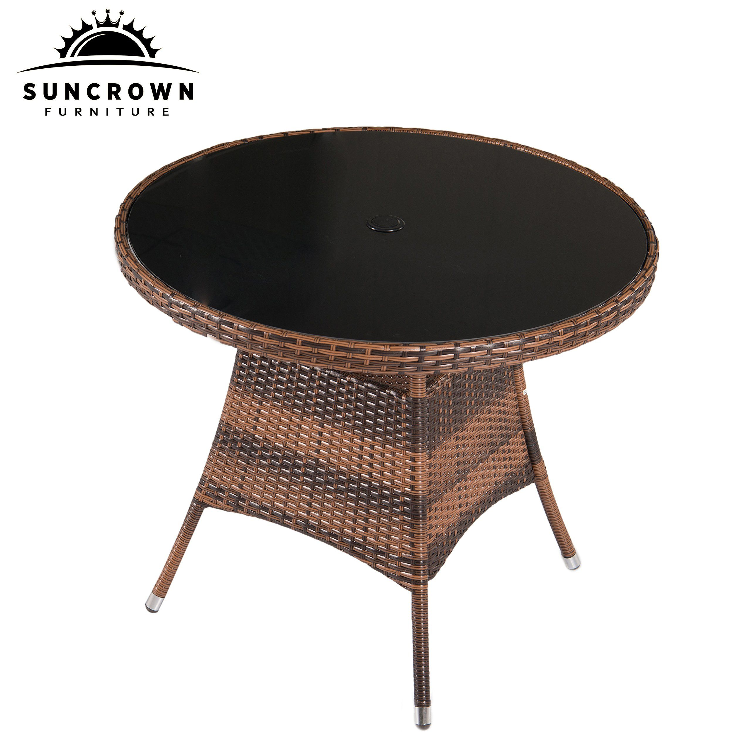 Suncrown Outdoor Furniture Allweather Wicker Round Dining Table