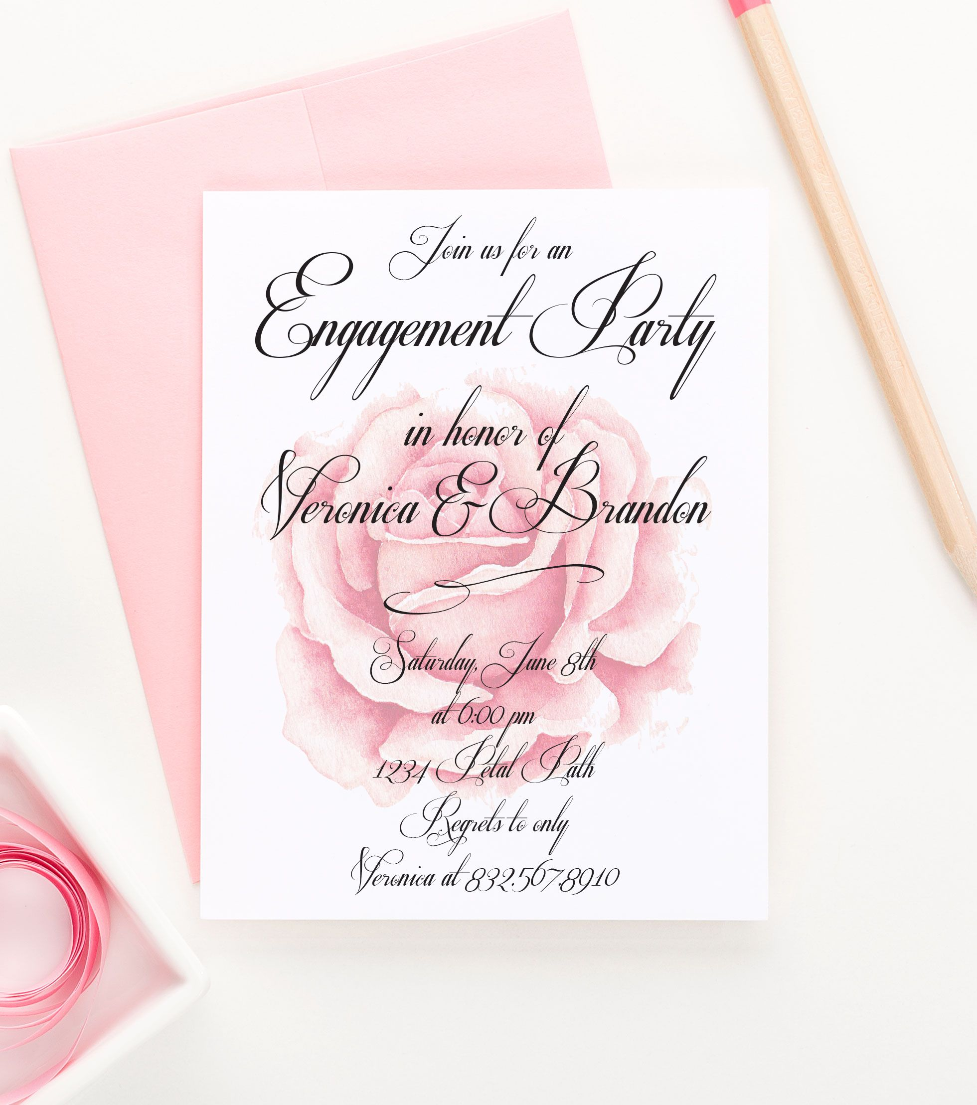Elegant and Simple Engagement Party Invitations, Floral Engagement ...
