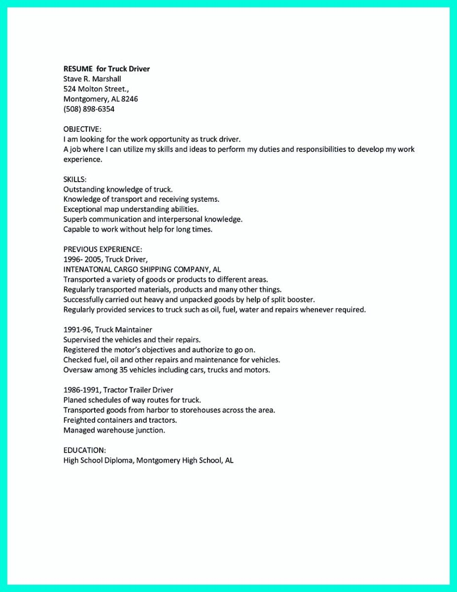 Driver Resume Nice Simple But Serious Mistake In Making Cdl Driver Resume Check