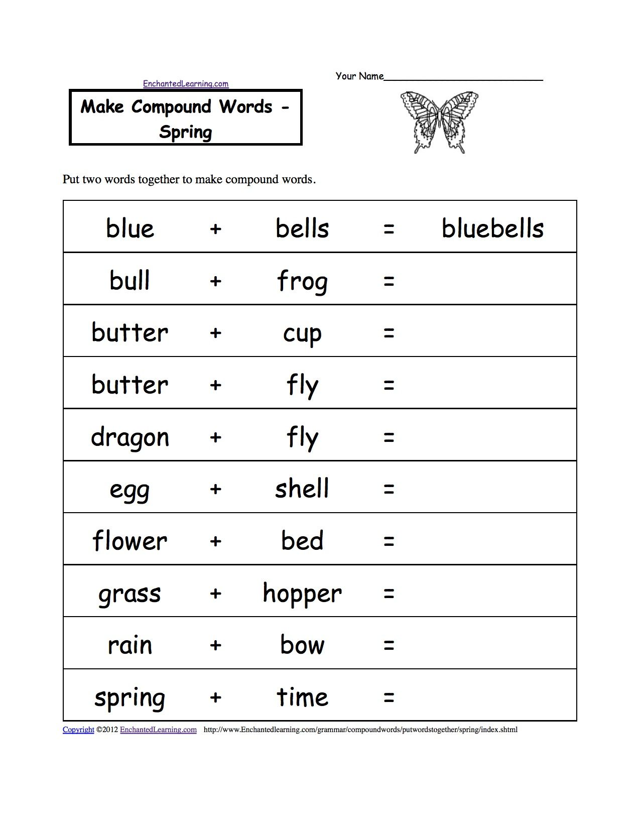 Compound words spring | Spelling worksheets, Compound words ...