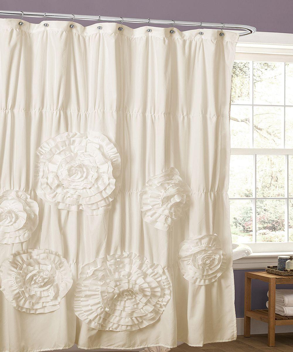 Ivory Magnolia Shower Curtain White shower curtain