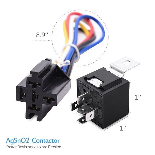 12v 30 40 Amp 5 Pin Spdt Automotive Relay With Wires Harness Socket 5 Pcs Automotive Electrical Relay Automotive